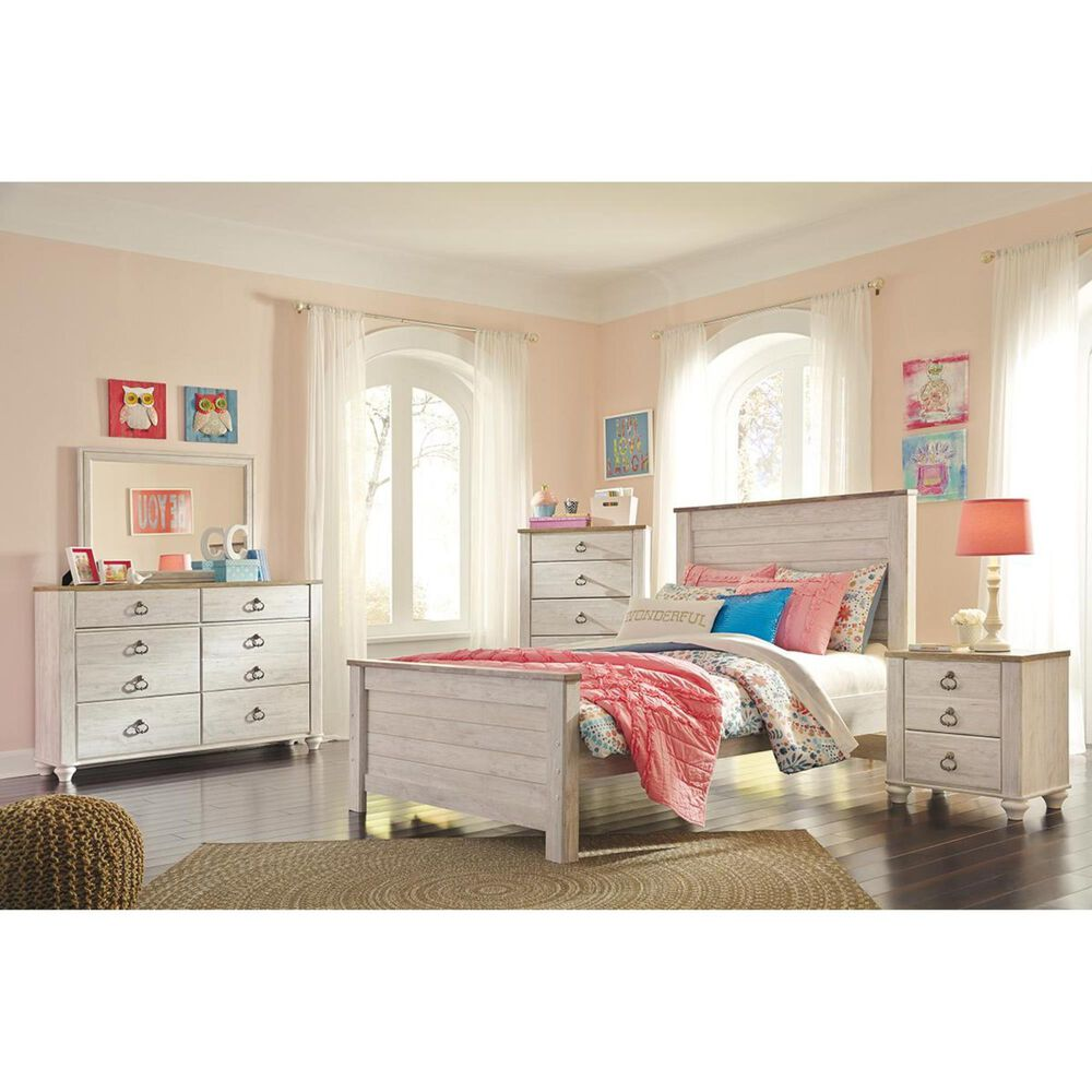 Signature Design by Ashley Willowton 4 Piece Full Panel Bedroom Set in White Wash, , large