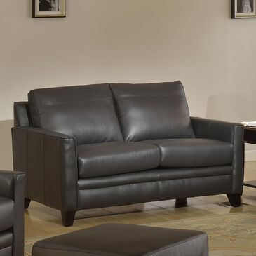 Italiano Furniture Fletcher Leather Loveseat in Charcoal Gray, , large