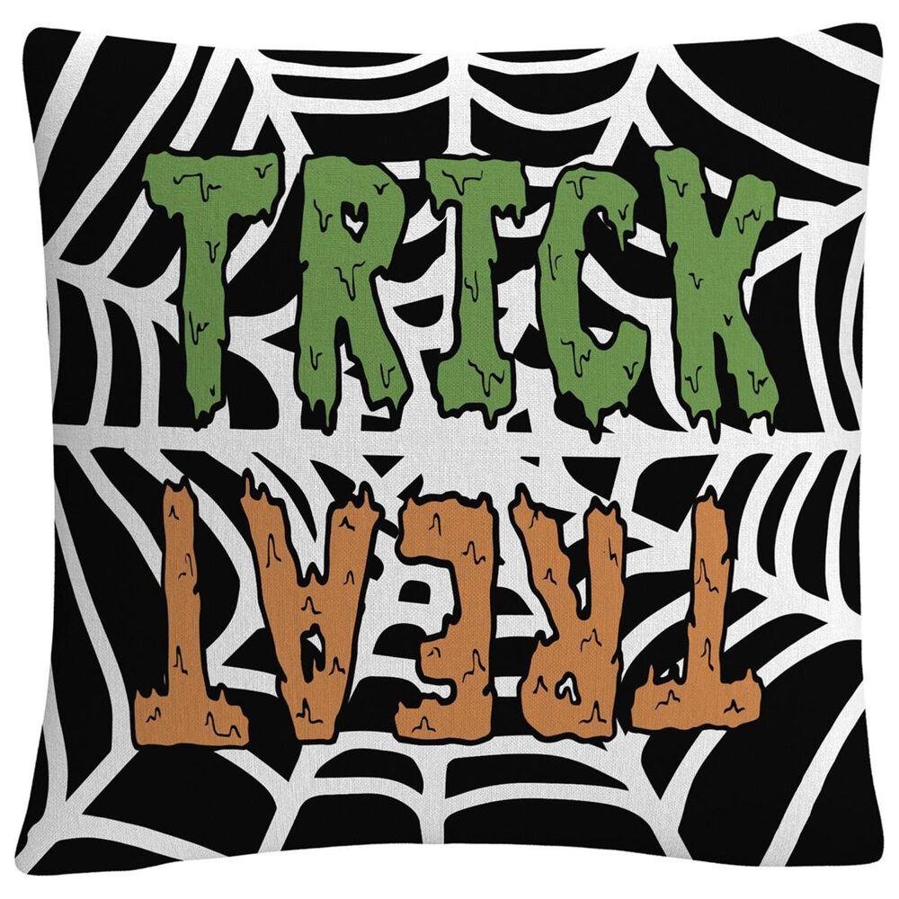 "Timberlake Trick Or Treat Web Green Orange Halloween By ABC 16"" Decorative Throw Pillow, , large"