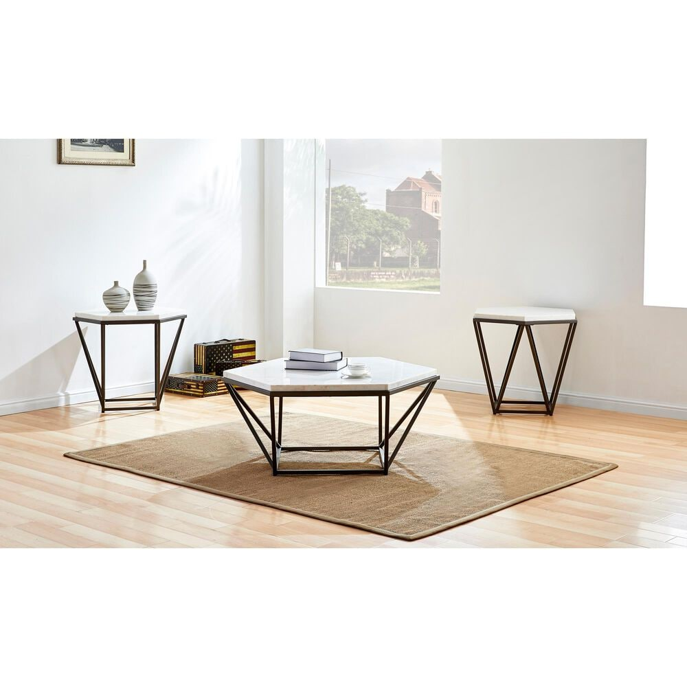 Steve Silver Cara End Table in White, , large