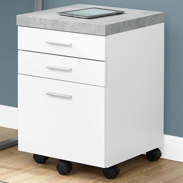 Monarch Specialties 3-Drawer Filing Cabinet in White and Cement-Look Top, , large