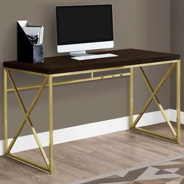 """Monarch Specialties 48"""" Computer Desk in Cappuccino and Gold, , large"""