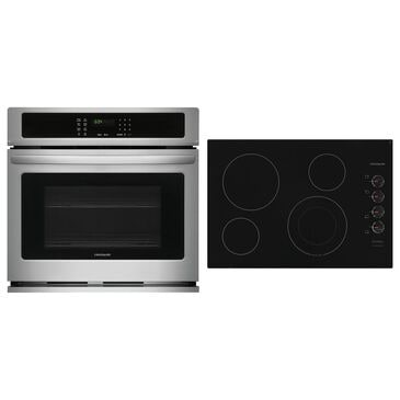 """Frigidaire 2-Piece Kitchen Package with 30"""" Single Wall Oven in Stainless Steel and Black Electric Cooktop, , large"""
