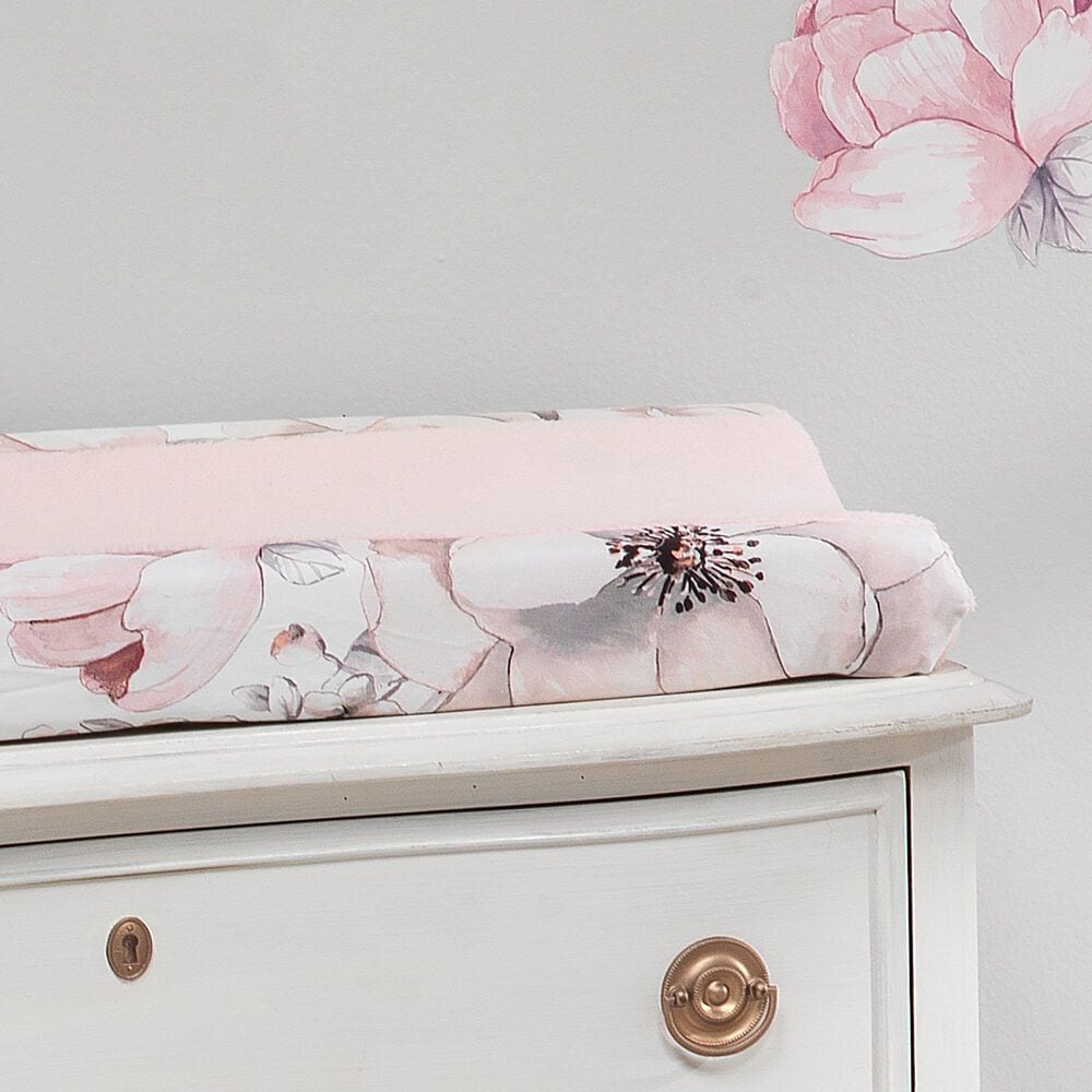 Lambs and Ivy Signature Botanical Baby Floral Minky Changing Pad Cover in Pink and Gray, , large