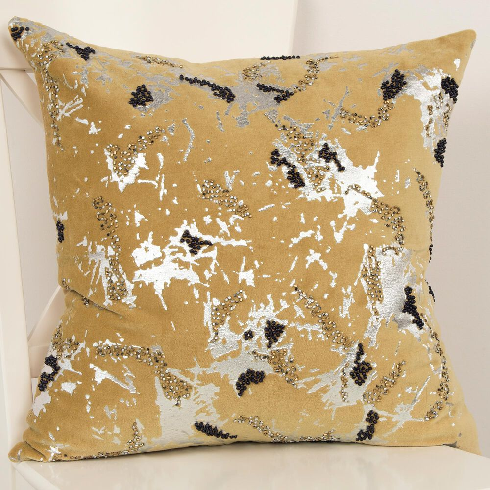 """Rizzy Home Abstract 20"""" Down Filled Pillow in Gold, , large"""