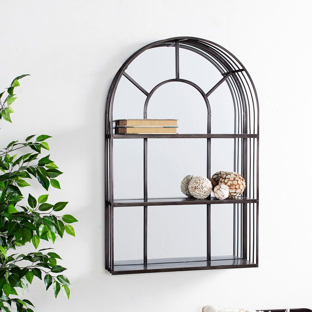 Maple and Jade Industrial Metal Wall Shelf in Grey, , large