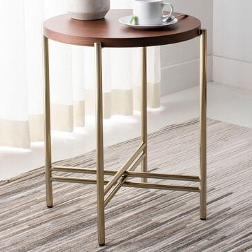 Safavieh Cassie End Table in Walnut and Polished Brass , , large