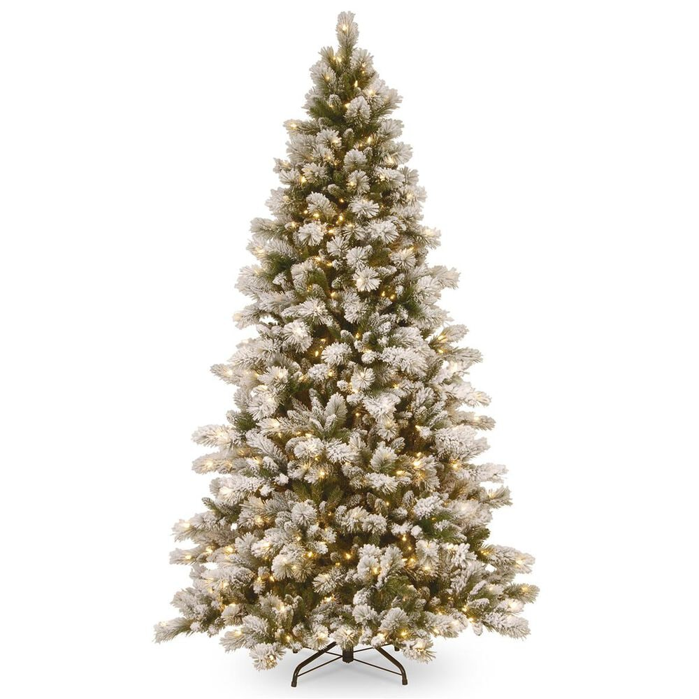 """National Tree 7.5"""" Snowy Westwood Pine Hinged Tree with 650 White Lights, , large"""