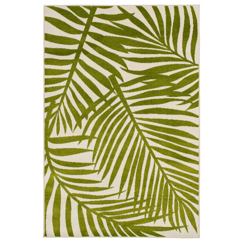 "Central Oriental Terrace Tropic Tropical Oasis 5' x 7'3"" Snow and Leaf Area Rug, , large"