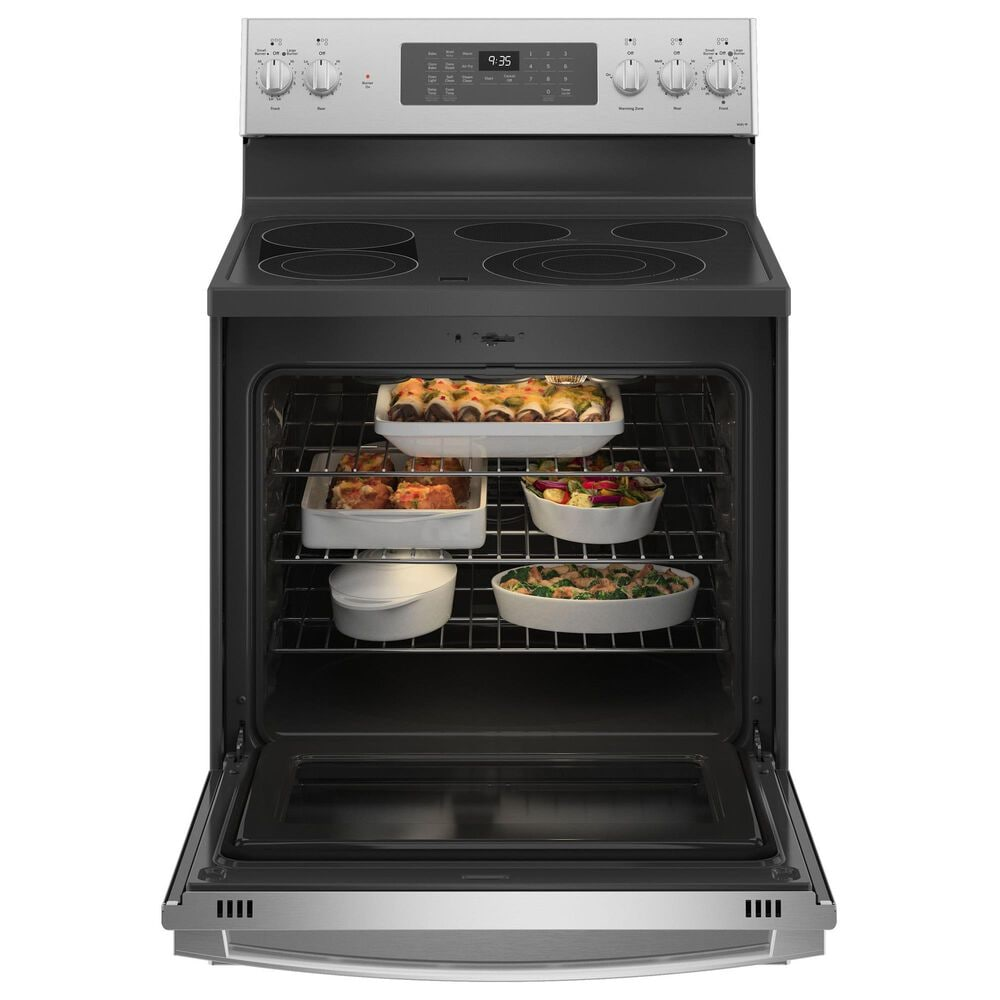 GE Appliances 5.3 Cu. Ft. Smart Free-Standing Electric Range and 2.1 Cu. Ft. Over-the-Range Sensor Microwave Oven in Fingerprint Resistant Stainless Steel, , large