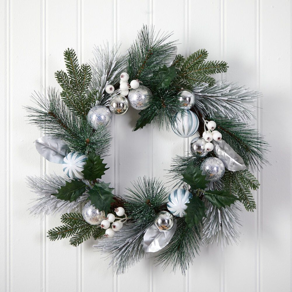 Nearly Natural Inc 24in. Pinecones and Berries Christmas Artificial Wreath with Silver Ornaments, , large