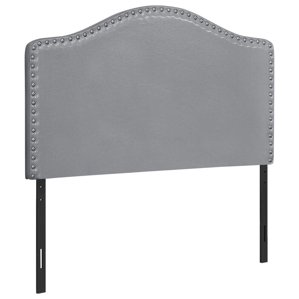 Monarch Specialties Twin Nail Head Trim Headboard in Grey, , large