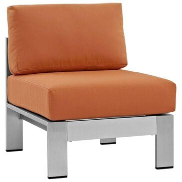 Modway Shore Armless Outdoor Patio Aluminum Chair in Silver and Orange, , large