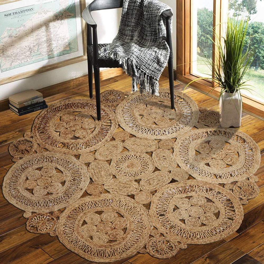 L&R Resources Natural Jute 4' Scalloped Natural Area Rug, , large