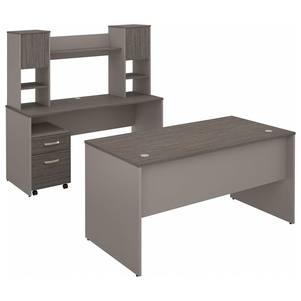 Bush 3-Piece Office Desk Set in Cocoa/Pewter, , large