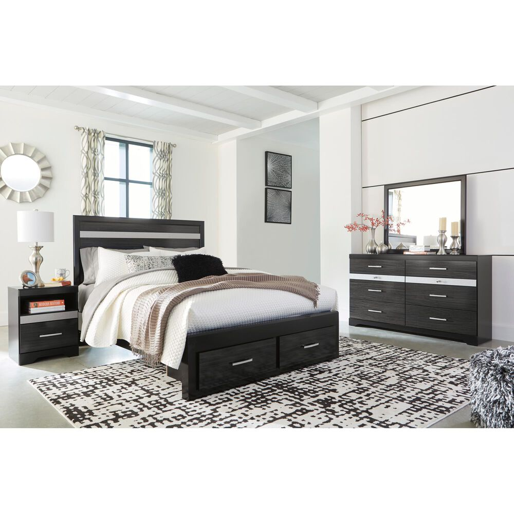 Signature Design by Ashley Starberry Queen Storage Bed in Black and Silvertone, , large