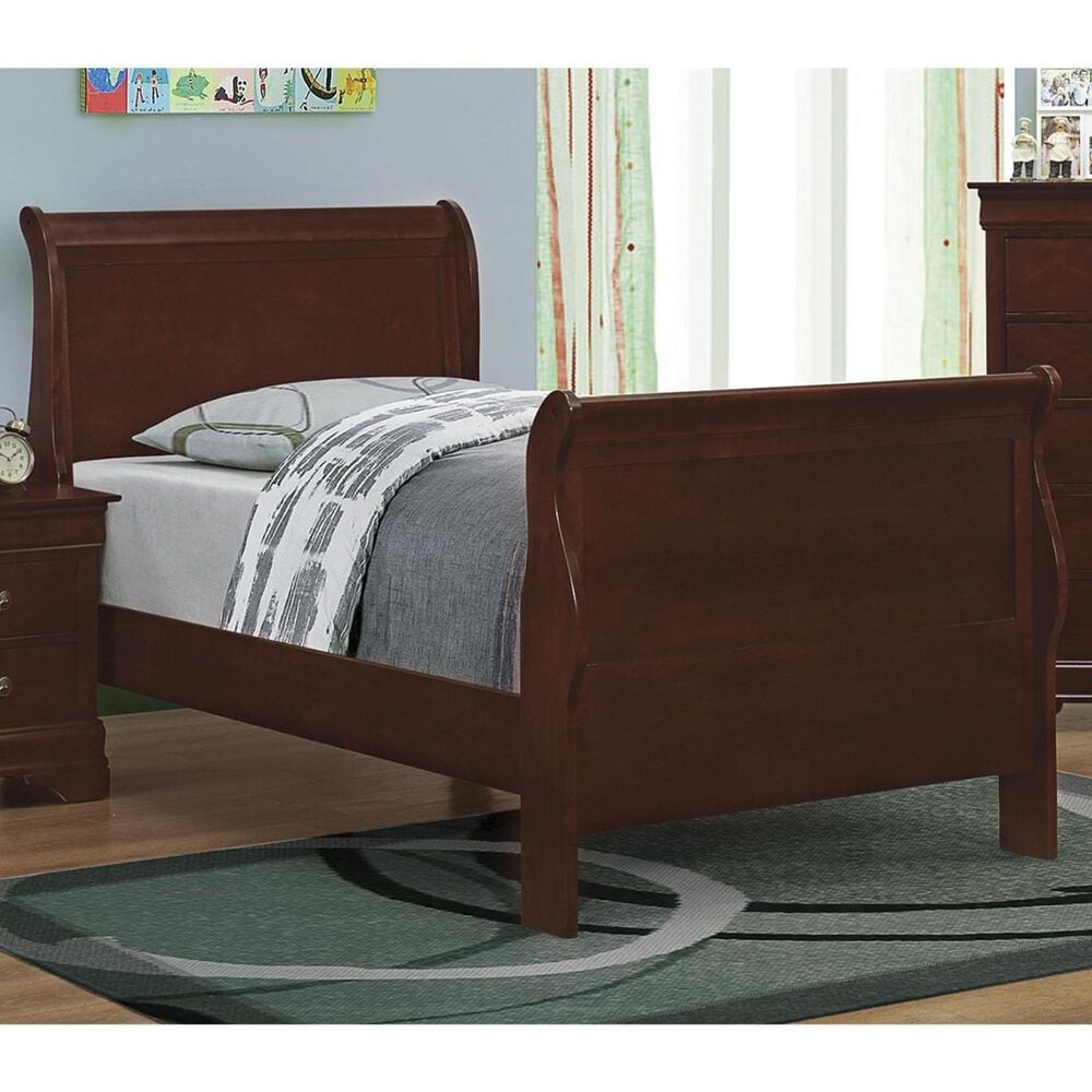 Pacific Landing Louis Philippe Twin Sleigh Panel Bed in Red Brown, , large