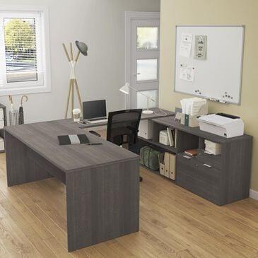 Bestar i3 Plus 2-Drawer U-Desk in Bark Gray, , large