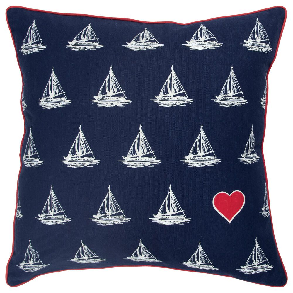 """Rizzy Home Sailboat 20"""" Down Filled Pillow in Navy, , large"""