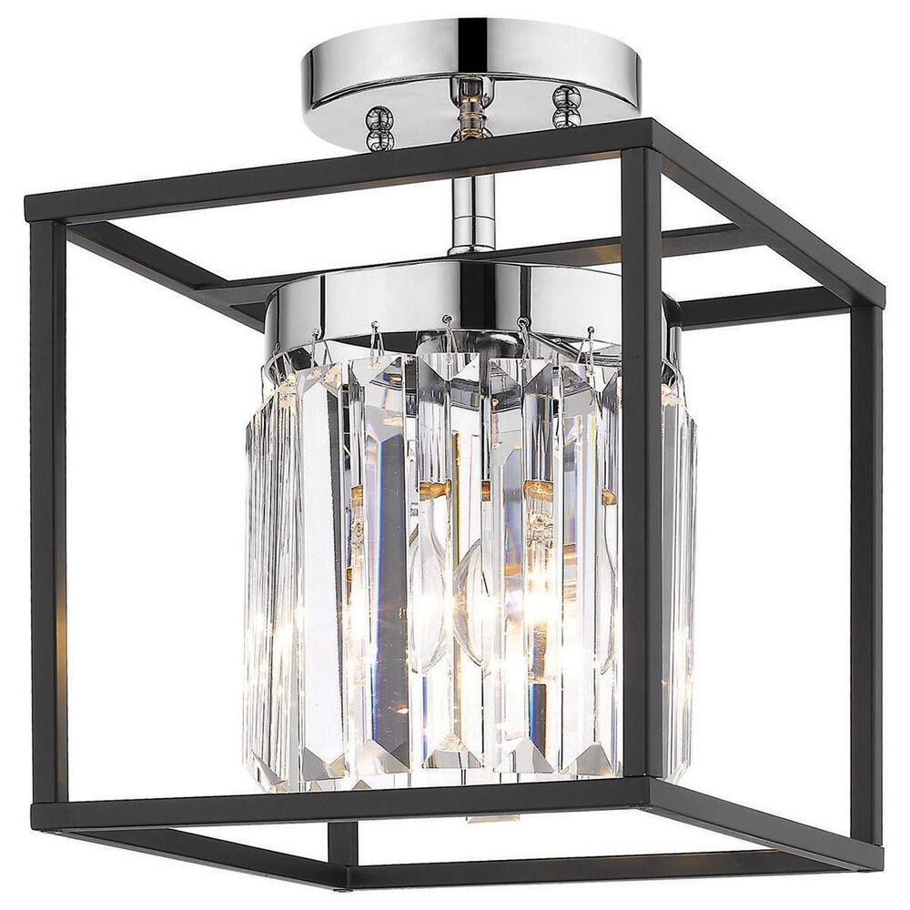 Golden Lighting Paris 1-Light Semi Flush in Chrome and Black, , large