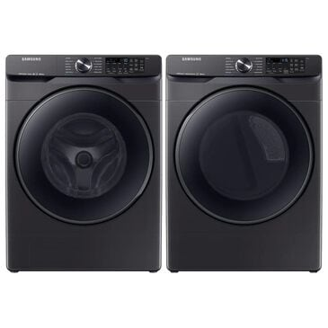 Samsung 5.0 Cu. Ft. Front Load Washer and 7.5 Cu. Ft. Electric Dryer Laundry Pair in Black Stainless Steel, Black, large