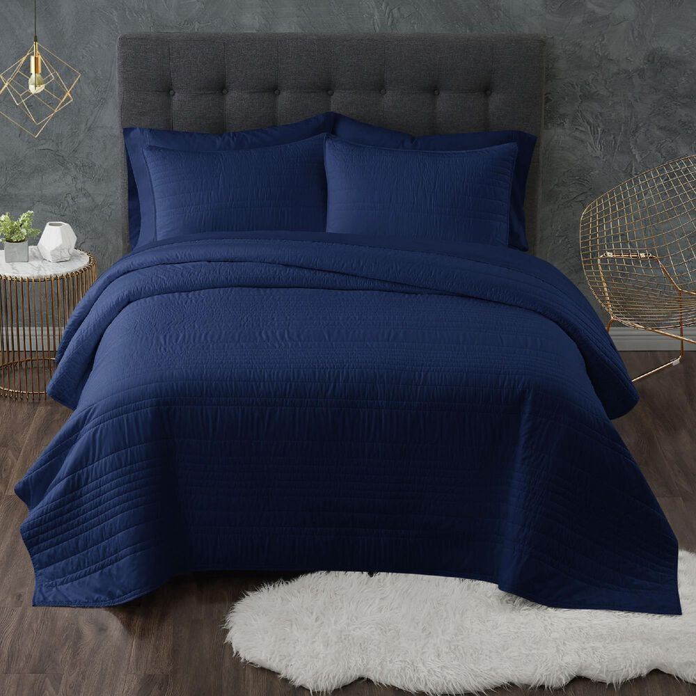 Pem America Truly Calm Antimicrobial 3-Piece Full/Queen Quilt Set in Navy, , large