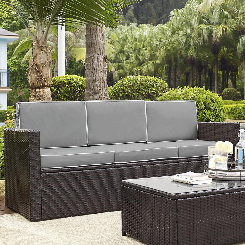 Firefly Palm Harbor Outdoor Wicker Sofa in Brown with Grey Cushions, , large