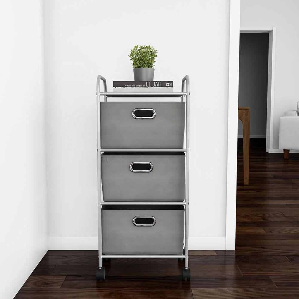 Timberlake Lavish Home 3-Drawer Storage Cart in Gray/Silver, , large