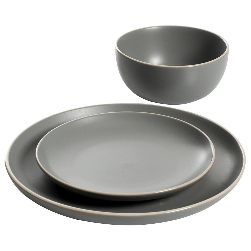 Gibson Home Rockaway 12-Piece Dinnerware Set in Matte Grey, , large