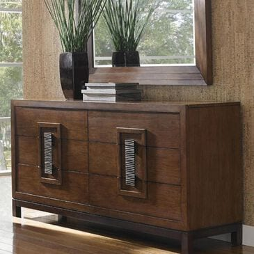Tommy Bahama Home Island Fusion 6-Drawer Double Dresser in Dark Walnut, , large