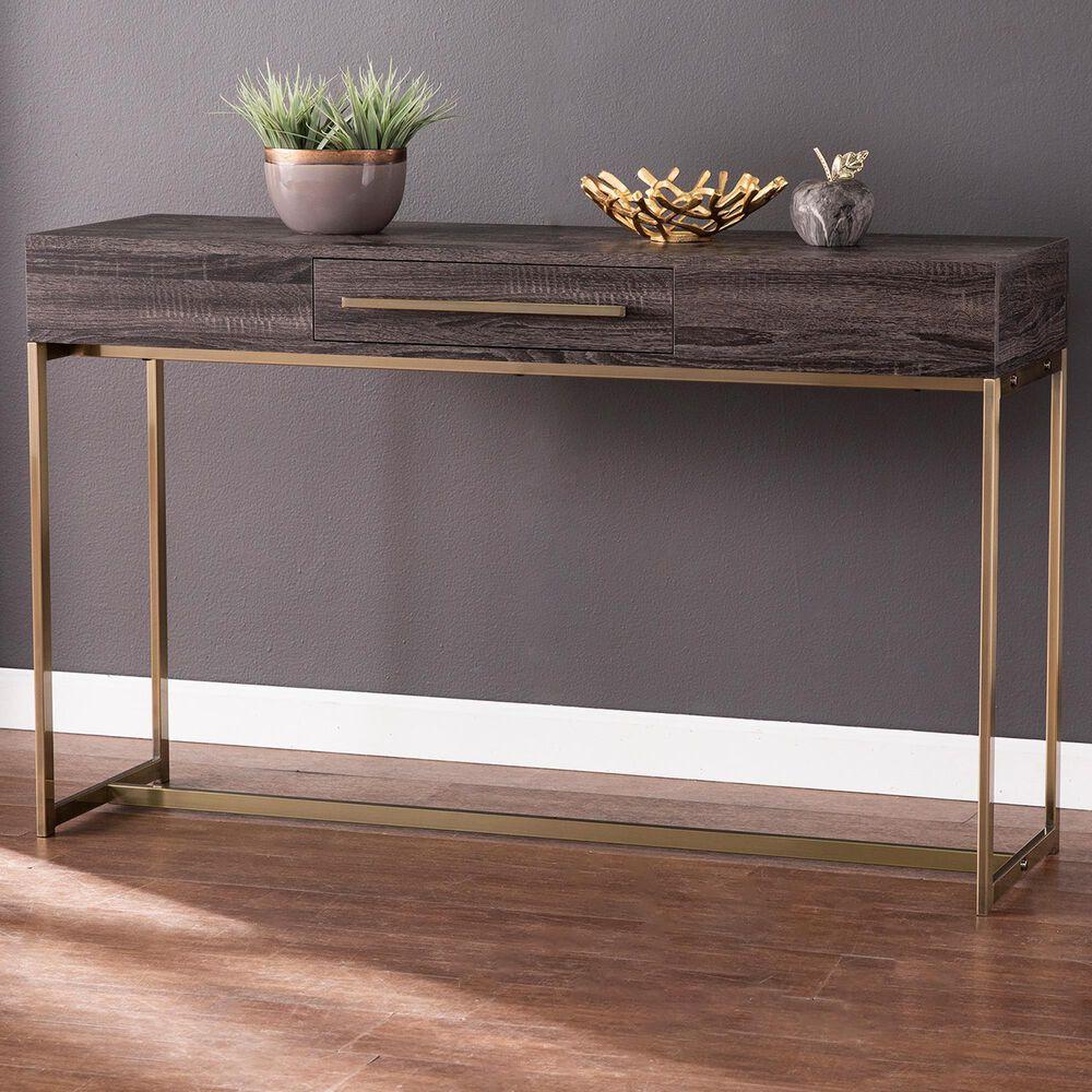 Southern Enterprises Akmonton Storage Console Table in Black Oak and Antique Brass, , large