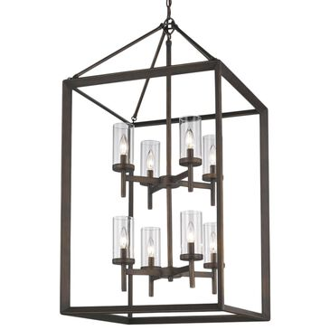 Golden Lighting Smyth 8-Light Pendant in Gunmetal Bronze with Clear Glass, , large
