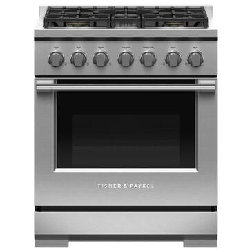 """Fisher and Paykel 30"""" Freestanding Natural Gas Range with 5 Burners in Stainless Steel, , large"""