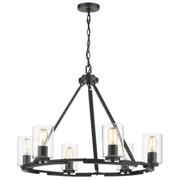 Golden Lighting Monroe 6-Light Chandelier in Black with Clear Glass, , large
