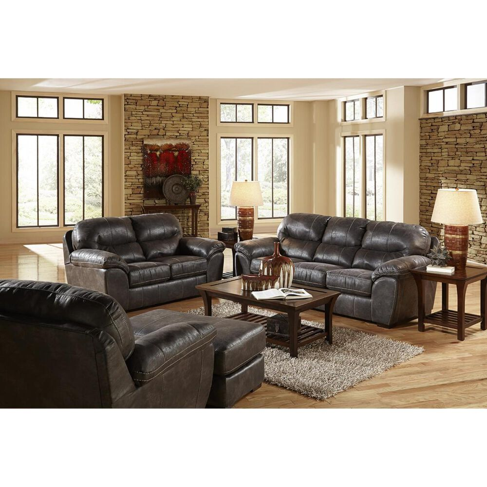 Hartsfield Casual Gray Bonded Leather Chair , , large