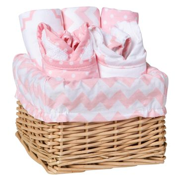 Trend Lab LLC Pink Sky 7-Piece Feeding Basket Gift Set, , large