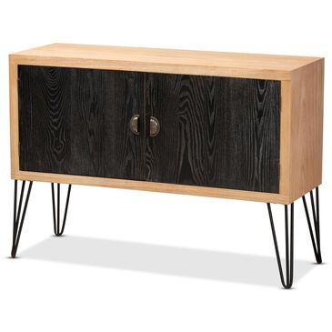 Baxton Studio Denali Storage Cabinet in Black/Walnut, , large