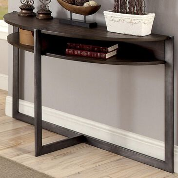 Furniture of America Dana Open Shelf Half-Moon Sofa Table in Dark Oak, , large