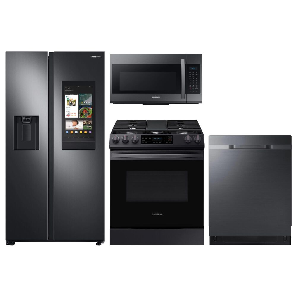 Samsung 4-Piece Kitchen Package with 26.7 Cu. Ft. Side-by-Side Refrigerator and Gas Range in Black Stainless Steel, , large