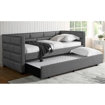 Claremont Flannery Twin Daybed with Trundle in Gray, , large
