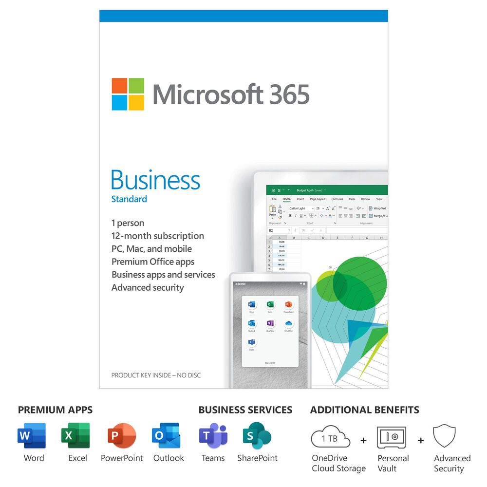Microsoft 365 Business Standard (12 Month Subscription)(1 Person) Digital Code for PC or Mac, , large