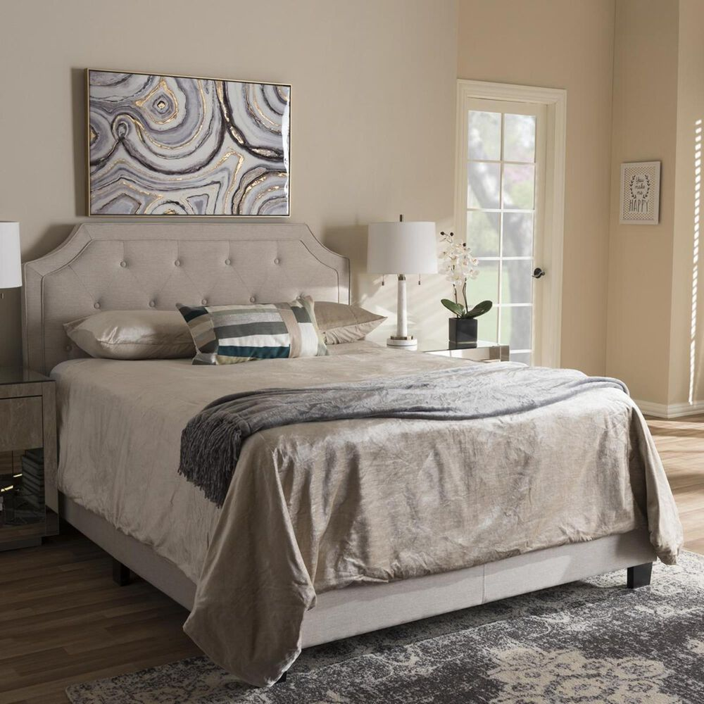 Baxton Studio Willis Upholstered Full Bed in Light Beige, , large