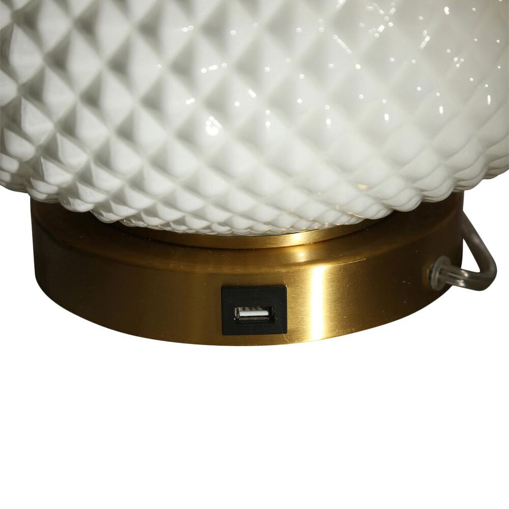 """Sagebrook Home 28"""" Table Lamp with USB Port in White, , large"""