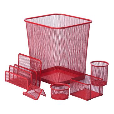 Honey Can Do 6-Piece Steel Mesh Desk Set in Red, , large