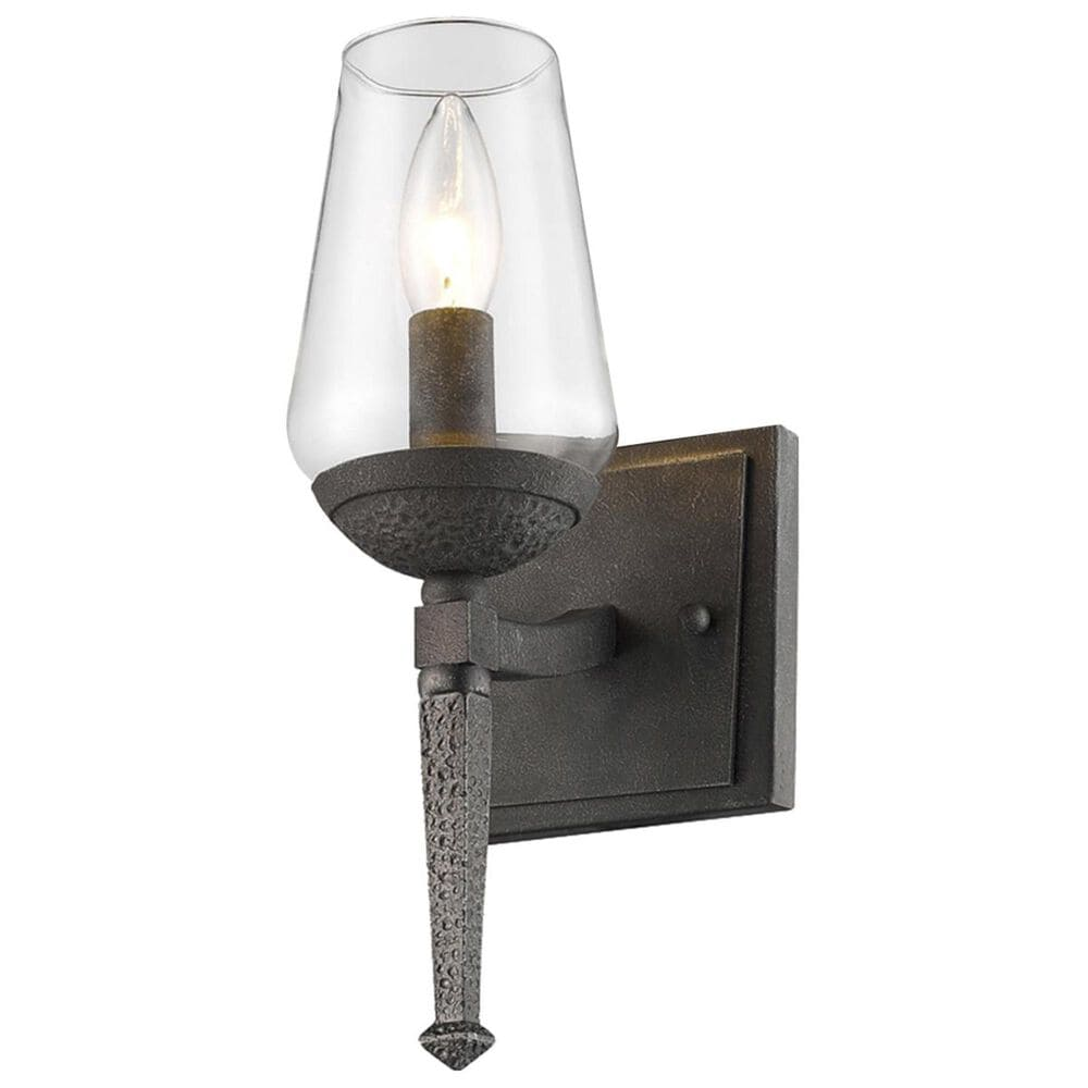 Golden Lighting Marcellis 1-Light Wall Sconce in Dark Natural Iron with Clear Glass, , large