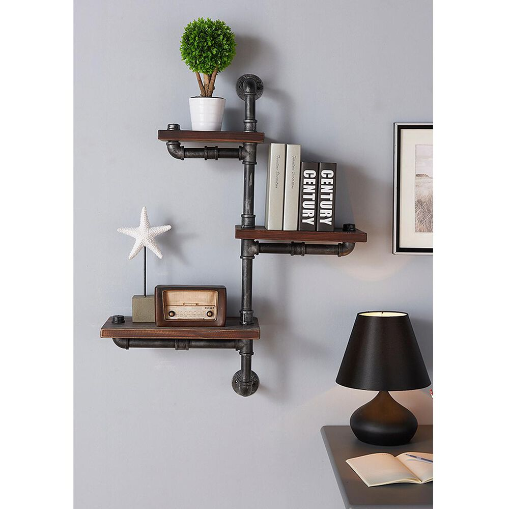 """Blue River Orton 30"""" Floating Wall Shelf in Gray and Walnut, , large"""