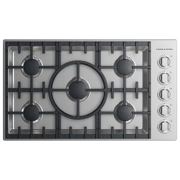 """Fisher and Paykel 36"""" Gas Cooktop with 5-Burner in Stainless Steel, , large"""