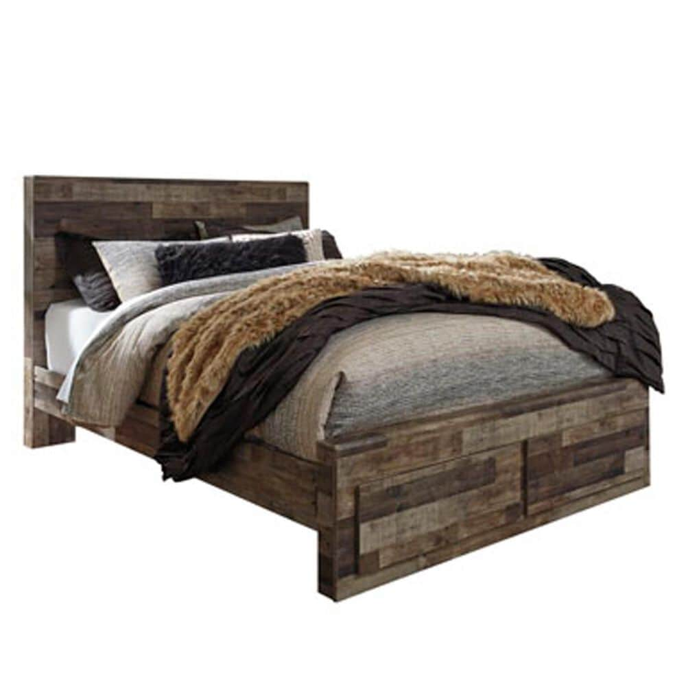 Signature Design by Ashley Derekson 4 Piece King Storage Bedroom Set in Walnut and Gray, , large
