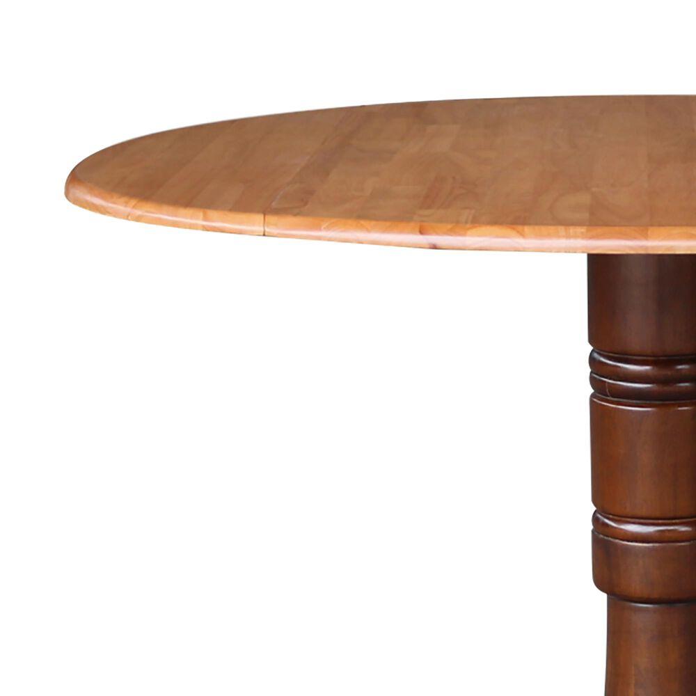"International Concepts 42"" Modern Farmhouse Round Drop Leaf Dining Table in Cinnamon/Espresso, , large"
