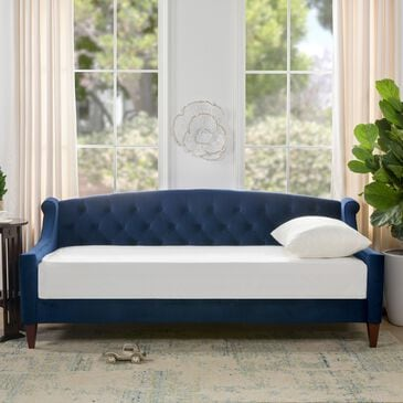 Jennifer Taylor Home Lucy Upholstered Button Tufted Sofa Bed in Navy Blue, , large